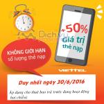 Khuyến mãi Viettel tặng 50% giá trị thẻ nạp ngày 30/6/2016