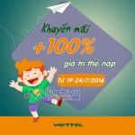 Viettel khuyến mãi 100% giá trị thẻ nạp từ 19 đến 24/7/2016