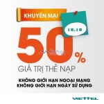 Viettel khuyến mãi 50% giá trị thẻ nạp ngày 18/10/2016