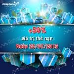 Khuyến mãi ngày vàng Vinaphone 23/7/2016 tặng 50% thẻ nạp