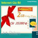 Đăng ký gói Mimax25 của Viettel sử dụng 3G giá rẻ chỉ 25k