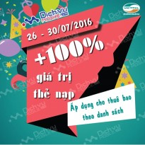 Viettel khuyến mãi 100% nạp thẻ từ 26 đến 30/7/2016