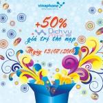Vinaphone khuyến mãi cục bộ tặng 50% ngày 13/7/2016