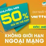 Khuyến mãi 50% thẻ nạp Viettel ngày vàng 17/8/2016