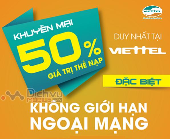 Khuyến mãi 50% thẻ nạp Viettel