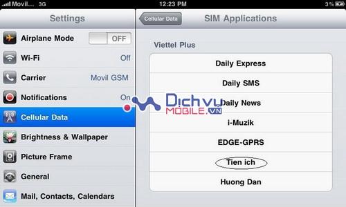 Cách nạp tiền sim 3G Viettel trên iPad