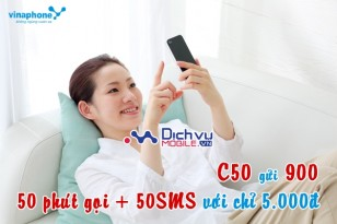 Đăng ký gói C50 Vinaphone có 50 phút gọi, 50 tin nhắn miễn phí