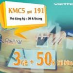Đăng ký gói KMC5 Viettel ưu đãi nhận 3GB data và 50,000đ