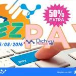 Vinaphone khuyến mãi 50% thẻ nạp qua EZPay ngày 15/8/2016