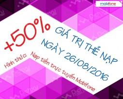 Mobifone tặng 50% giá trị thẻ nạp trực tuyến ngày 26/8/2016