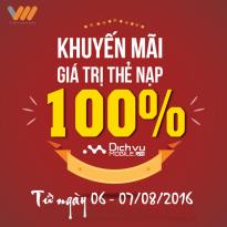 Vietnamobile khuyến mãi thẻ nạp ngày 6 - 7/8/2016