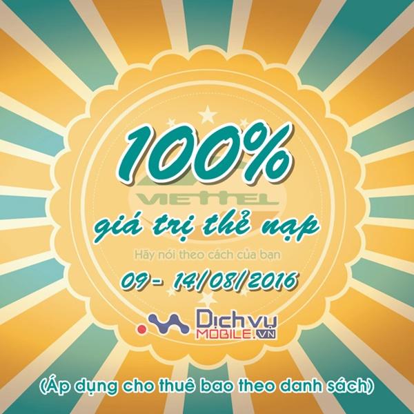 Viettel khuyến mãi 100% thẻ nạp ngày 9 - 14/8