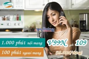 1.000 phút gọi nội mạng với gói V99N Viettel