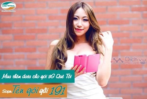 Hướng dẫn mua thêm data cho gói 3G Quê Tôi Viettel
