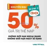 Khuyến mãi Viettel ngày 30/9/2016 tặng 50% giá trị thẻ nạp