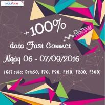 Mobifone khuyến mãi 100% data Fast Connect ngày 6 - 7/09/2016