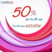 Mobifone khuyến mãi 50% giá trị thẻ nạp ngày 4/10/2016