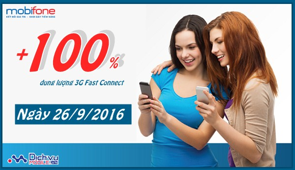 Mobifone nhân đôi dung lượng 3G Fast Connect ngày vàng 26/9/2016