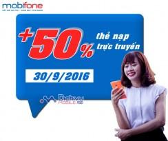Mobifone khuyến mãi 50% thẻ nạp trực tuyến ngày 30/9/2016