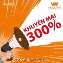 Vietnamobile khuyến mãi 300% giá trị thẻ nạp ngày 10/9
