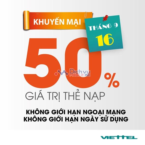 Viettel khuyến mãi 50% giá trị thẻ nạp ngày 16/9