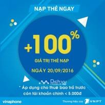 Khuyến mãi Vinaphone tặng 100% giá trị thẻ nạp ngày 20/9/2016