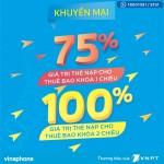 Vinaphone khuyến mãi 100% thẻ nạp cho thuê bao khóa 1 chiều, 2 chiều