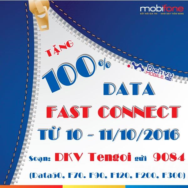 Mobifone khuyến mãi 100% data Fast Connect ngày 10 - 11/10/2016