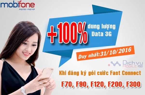 Mobifone khuyến mãi 100% dung lượng 3G Fast Connect ngày 31/10/2016