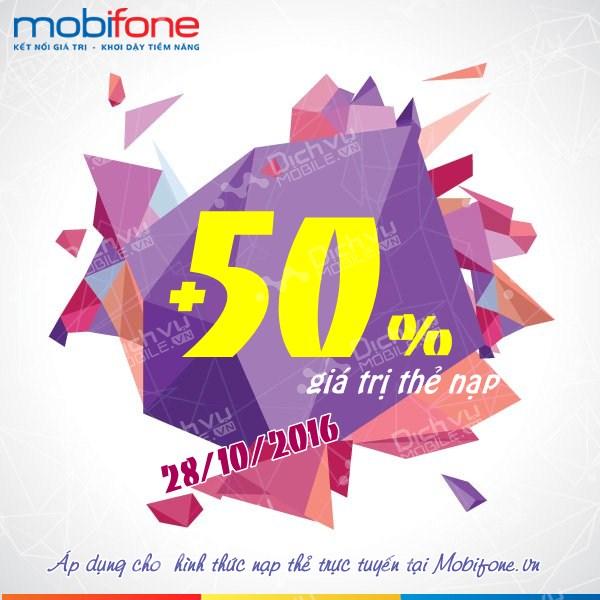 Mobifone khuyến mãi 50% giá trị thẻ nạp trực tuyến ngày 28/10/2016