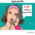 Đăng ký gói N100 Viettel miễn phí đến 800 phút nội mạng