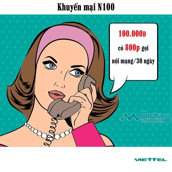 Tận hưởng hàng trăm phút thoại với gói cước khuyến mãi N100 Viettel
