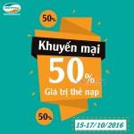 Viettel khuyến mãi 50% giá trị thẻ nạp ngày 15 – 17/10/2016