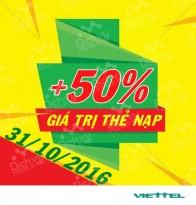 Viettel khuyến mãi 50% giá trị thẻ nạp toàn quốc ngày 31/10/2016