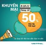 Viettel khuyến mãi 50% giá trị thẻ nạp từ ngày 9 – 11/10/2016