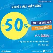 Vinaphone khuyến mãi 50% giá trị thẻ nạp ngày 20/10/2016