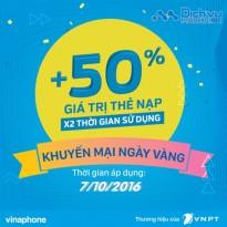 Vinaphone khuyến mãi 50% thẻ nạp ngày vàng 7/10/2016