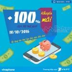 Vinaphone khuyến mãi 100% thẻ nạp trong ngày 18/10/2016