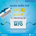 Vinaphone khuyến mãi tặng gói M70 cho thuê bao trả trước