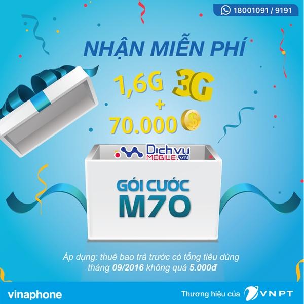 Vinaphone tặng gói M70 cho thuê bao trả trước