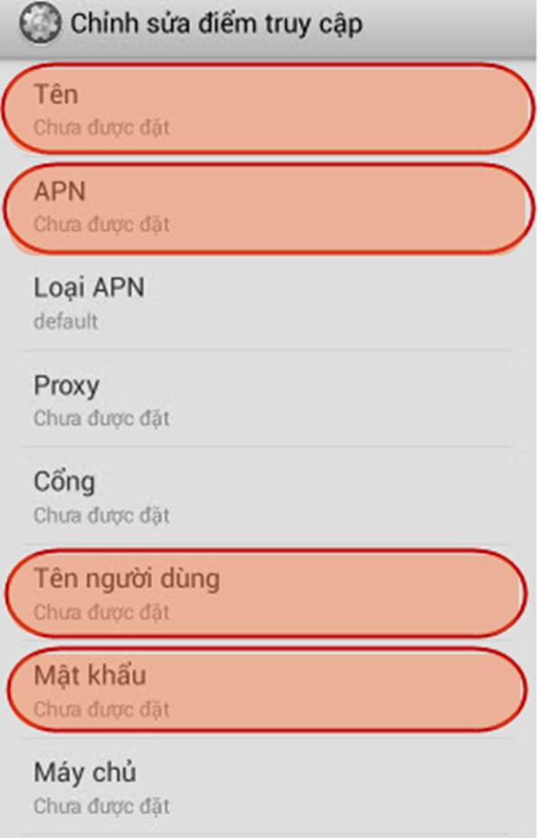 Hướng dẫn cài đặt cấu hình điểm truy cập APN Vinaphone
