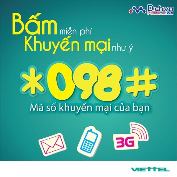 Hướng dẫn sử dụng cú pháp *098# mạng VietteL