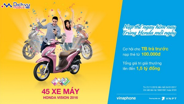 Nạp thẻ cho dế yêu - Trúng HONDA Vision mỗi ngày cùng Vinaphone