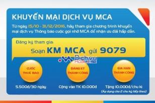Tặng tiền vào tài khoản khi tham gia dịch vụ MCA Mobifone