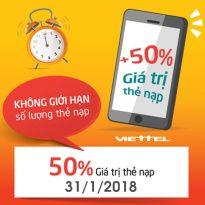 Viettel khuyến mãi 50% giá trị thẻ nạp ngày 31/1/2018