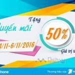 Khuyến mãi 50% thẻ nạp Vinaphone từ ngày 4/11 – 6/11/2016