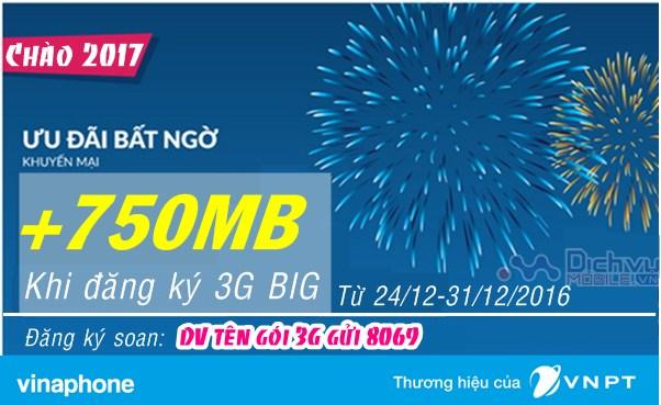 Vinaphone khuyến mãi tặng 750MB khi đăng ký các gói 3G BIG