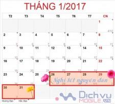 Lịch nghỉ tết Dương lịch và Tết Nguyên Đán năm 2017