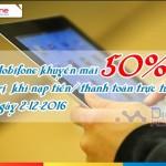 Mobifone ưu đãi 50% thẻ nạp trực tuyến ngày 2/12/2016