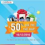 Mobifone khuyến mãi 50% giá trị thẻ nạp có điều kiện ngày 16/12/2016